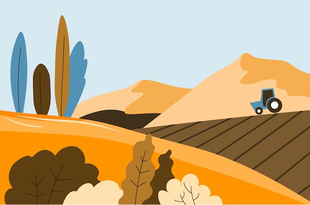 Paisagem de outono de colheita de campo e trator