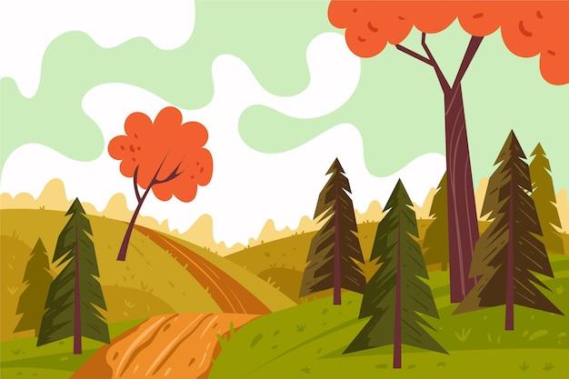Paisagem de outono desenhada à mão