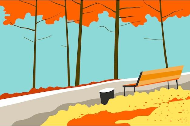 Paisagem de outono do parque com árvores e banco