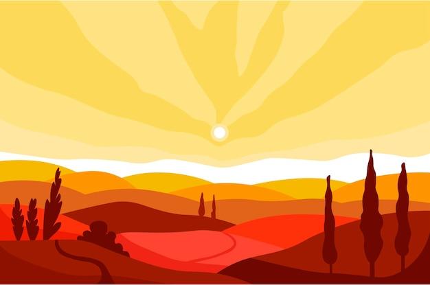 Paisagem de outono do vale e montanhas ao pôr do sol