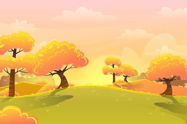 Paisagem de outono dos desenhos animados e prados com árvores amarelas