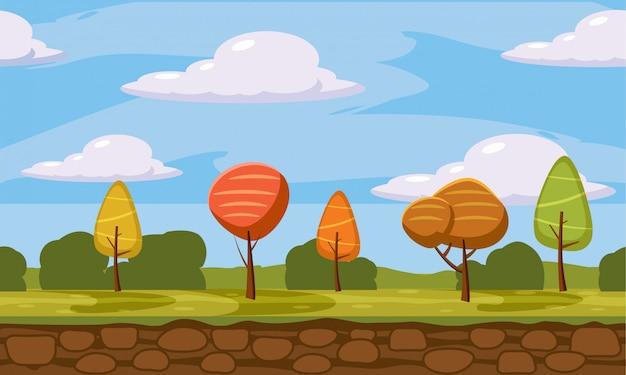 Paisagem de outono, estilo cartoon, árvores, nuvens, terra, ilustração vetorial