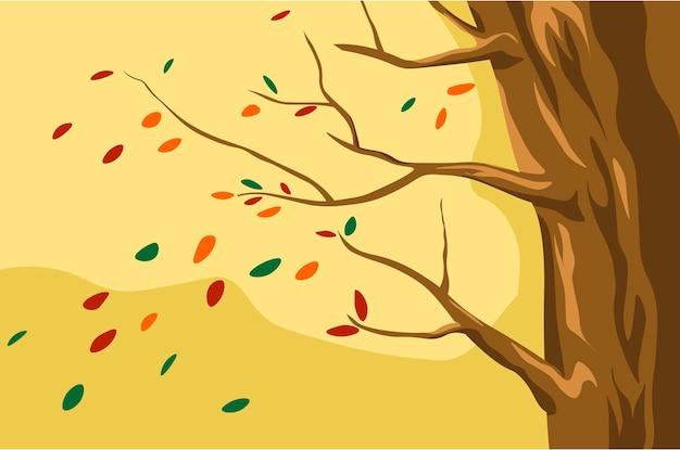 Paisagem de outono folhas laranjas caindo das árvores
