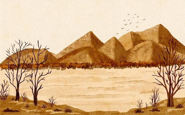Paisagem de outono, montanhas, paisagem, fundo, aquarela, mão, desenhado, ilustração.