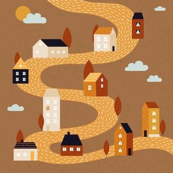 Paisagem de outono. queda fundo de rua de cidade, vida de aldeia ou subúrbio. bairro rural, lindas casas minúsculas na floresta abstrata. cartão retro ou pôster com ilustração vetorial de pequenos edifícios