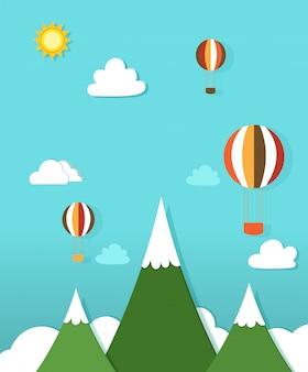 Paisagem de papel com balões de ar quente