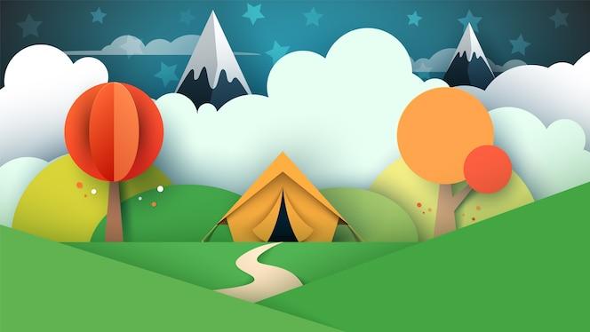 Paisagem de papel de desenhos animados de tenda.