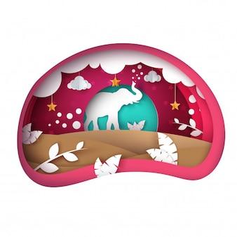 Paisagem de papel dos desenhos animados. ilustração de elefante. nuvem, folha, sol estrela vetor eps 10