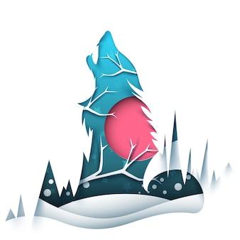 Paisagem de papel dos desenhos animados. ilustração de lobo. ve