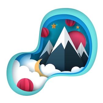 Paisagem de papel dos desenhos animados. montanha, sol, estrela nuvem