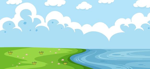 Paisagem de parque vazio com beira-rio