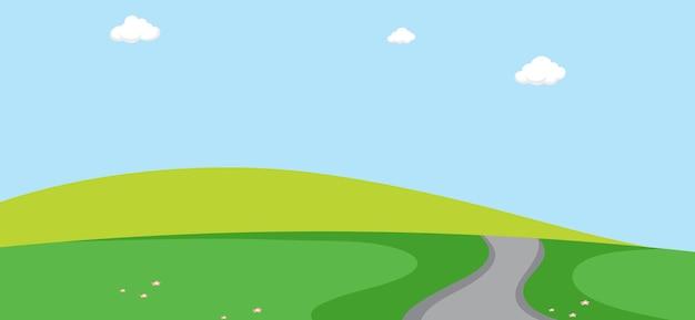 Paisagem de parque vazio com longa estrada