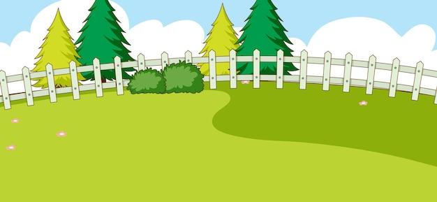 Paisagem de parque vazio com muitas árvores