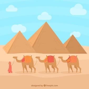 Paisagem de pirâmide com caravana