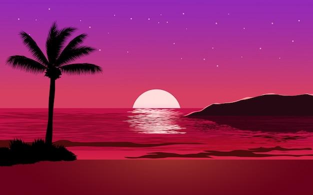 Paisagem de praia à noite com céu estrelado