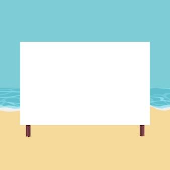 Paisagem de praia com cartão para escrever