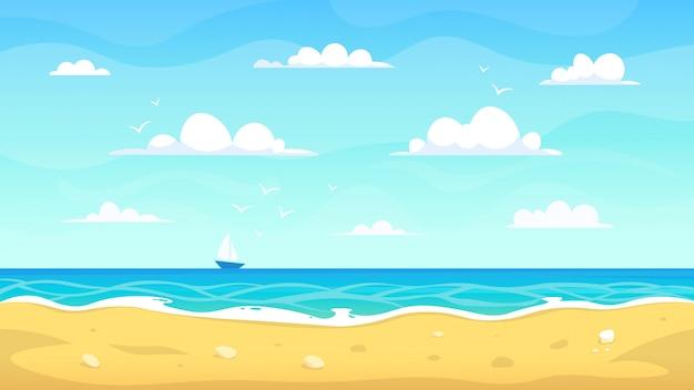 Paisagem de praia dos desenhos animados. litoral arenoso do oceano do verão, vista tropical das férias, ilustração do fundo da paisagem do paraíso da natureza do mar. costa e beira-mar, costa ao ar livre, estação verão