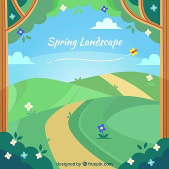 Paisagem de primavera com caminho