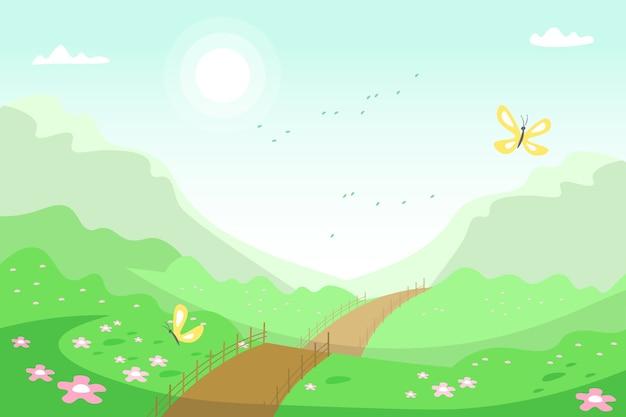 Paisagem de primavera com estrada e natureza
