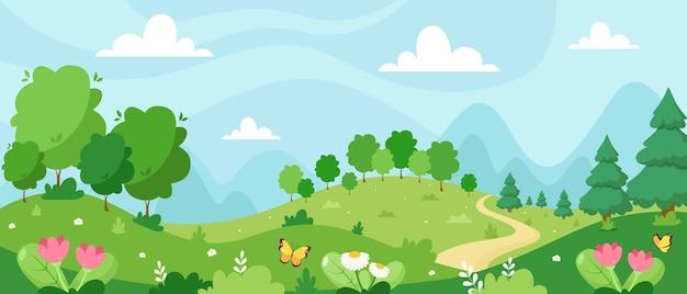 Paisagem de primavera com ilustração de árvores