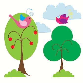 Paisagem de primavera com lindos pássaros coloridos