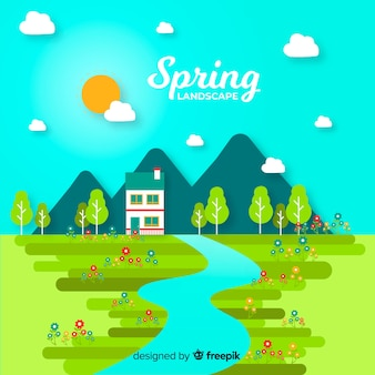 Paisagem de primavera de campo plano