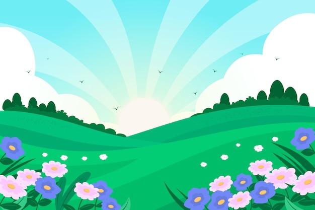 Paisagem de primavera design plano criativo