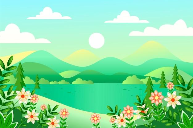 Paisagem de primavera design plano