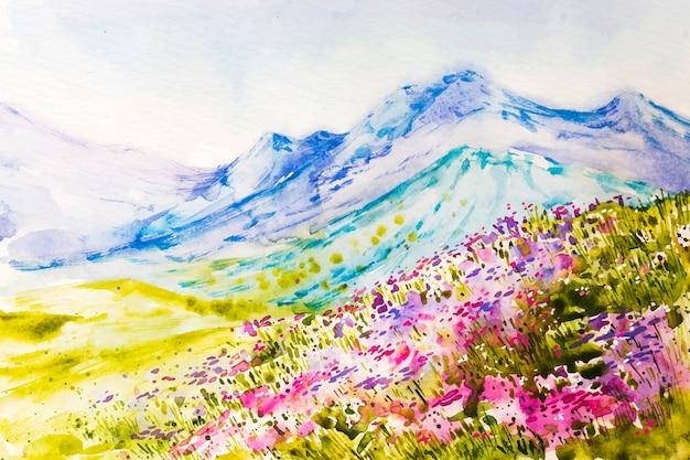 Paisagem de primavera em aquarela com montanhas e flores
