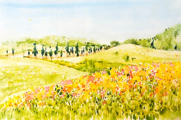 Paisagem de primavera em aquarela com planícies e flores
