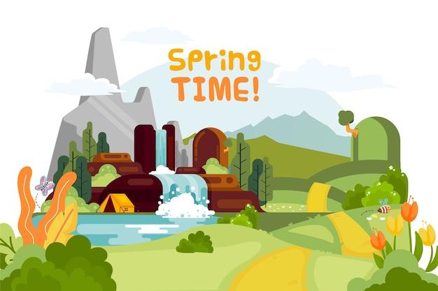 Paisagem de primavera em design plano