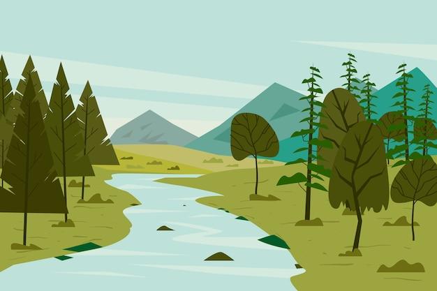 Paisagem de primavera gradiente com rio e árvores