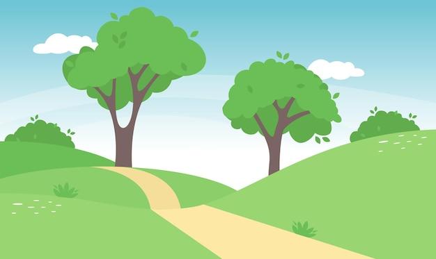 Paisagem de primavera no campo com prados verdes nas colinas e céu azul