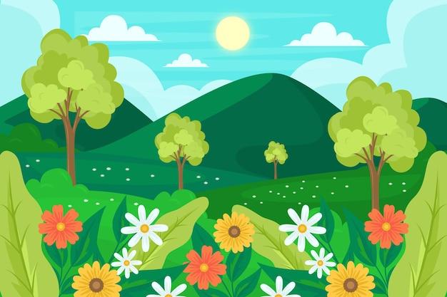 Paisagem de primavera plana