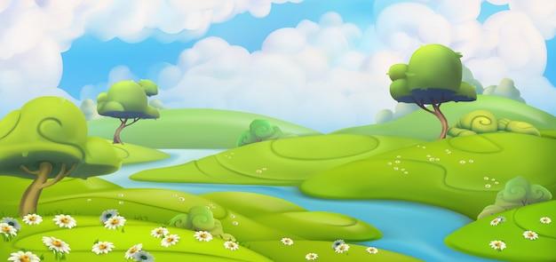 Paisagem de primavera. prado verde com ilustração vetorial de margaridas
