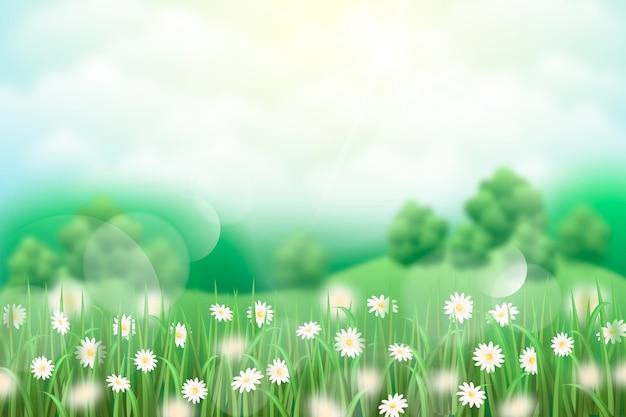 Paisagem de primavera realista com elementos desfocados