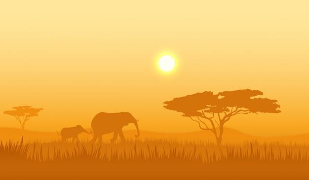 Paisagem de savana. viagem de aventura. paisagem de floresta selvagem. verão ensolarado. animal do safari