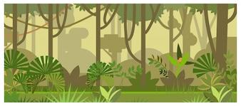 Paisagem de selva com ilustração de árvores e plantas