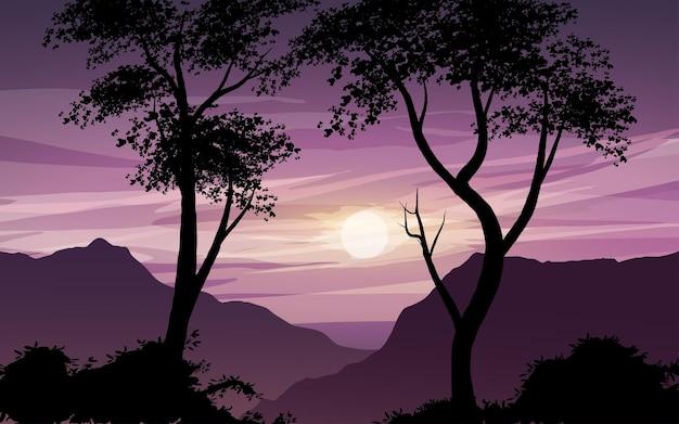 Paisagem de silhueta de árvore com fundo do nascer do sol