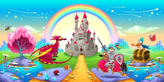 Paisagem de sonhos com dragão e cavaleiro vector ilustração de fantasia de desenho animado