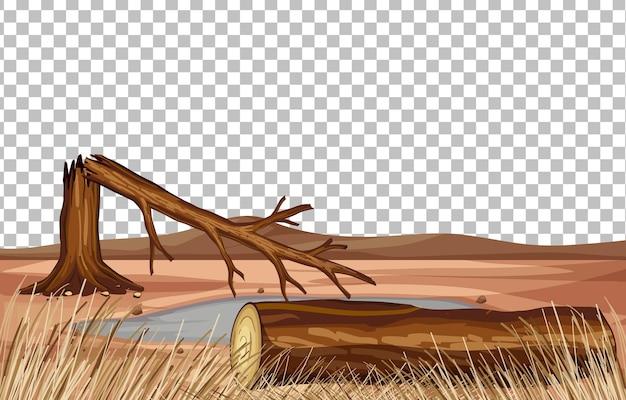 Paisagem de terra seca em fundo transparente