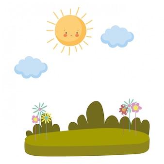 Paisagem de um parque com arbustos
