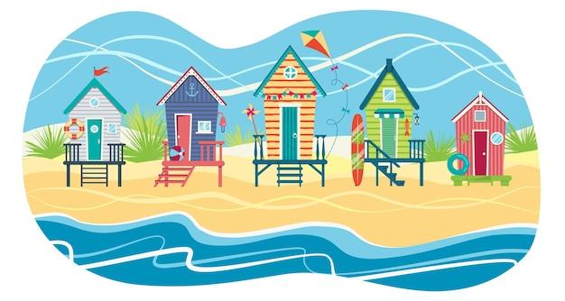 Paisagem de uma fileira de cabanas de praia contra o mar. férias de verâo.