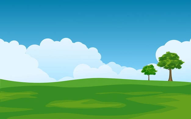 Paisagem de verão com campo vazio verde