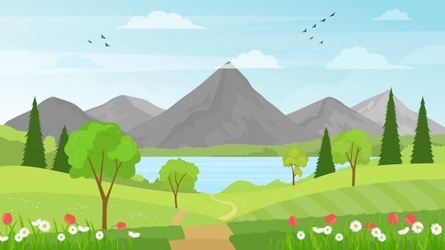 Paisagem de verão com campo verde, floresta, montanhas e lago em um fundo azul céu nublado.