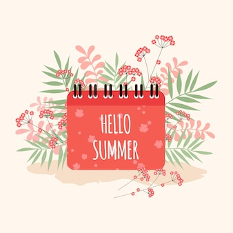 Paisagem de verão com letras no fundo de prados e colinas Vetor Premium