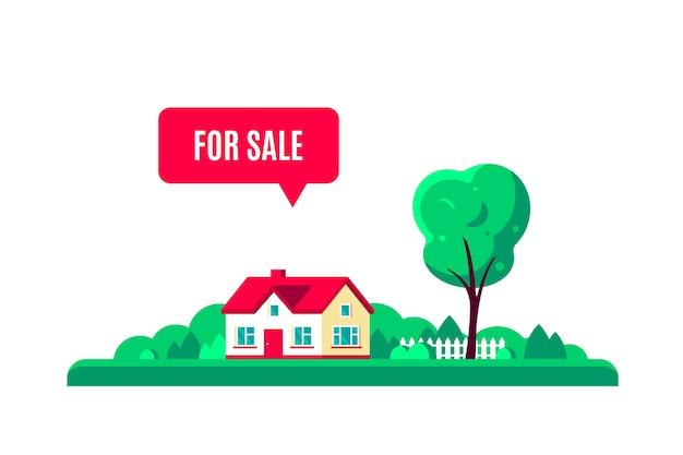 Paisagem de verão (primavera) com árvores, casa de campo e sinal à venda, isolado no fundo branco.