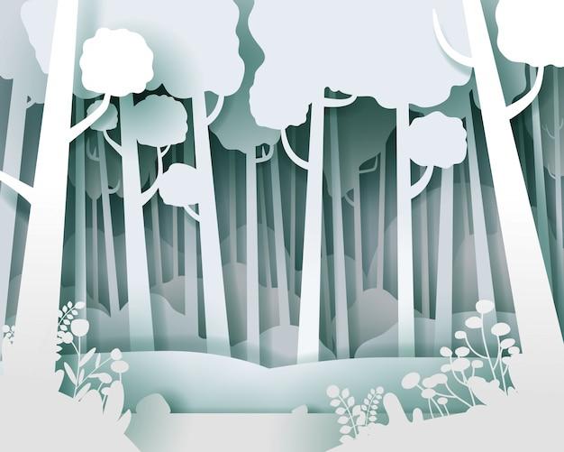 Paisagem de vetor com floresta de pinheiros. estilo de corte de papel