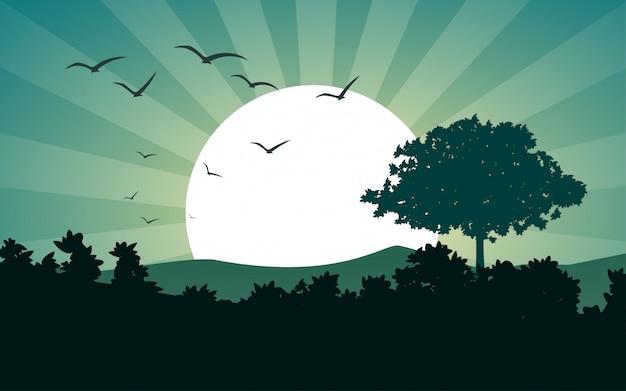 Paisagem de vetor com floresta e pôr do sol