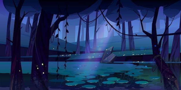 Paisagem de vetor com pântano na floresta à noite
